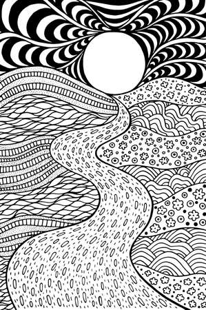 Psychedelic landscape. Coloring page for adults. Pathway in meadows and waves. Seaside illustration. Doodle drawing. Vector artwork. Ilustração