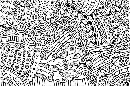 Surreal doodle pattern for coloring book for adults. Coloring page with floral abstract motifs. Psychedelic texture.  pattern. Vector illustration. Ilustração