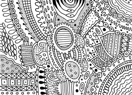 Boho doodle pattern for coloring book for adults. Coloring page with floral motifs. Psychedelic texture.  pattern. Vector illustration.