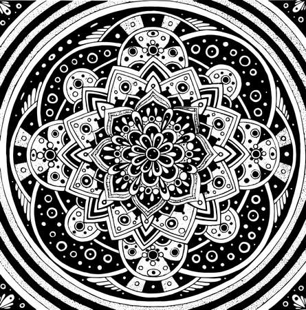 Floral doodle mandala. Geometric ornament. Sacred geometry. Line black and white realistic drawing. Antistress coloring page for adults. Vector illustration. Ilustração