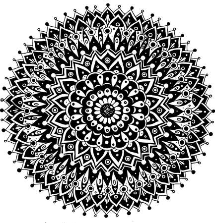 Floral doodle mandala. Sacred geometry. Line black and white realistic drawing. Antistress coloring page for adults. Vector illustration. Ilustração