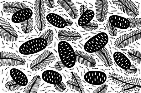 Pine cones and branches - line art pattern. Doodle forest background ornament for leaflet design. Fir cone illustration. Black and white modern minimal design with forest elements.