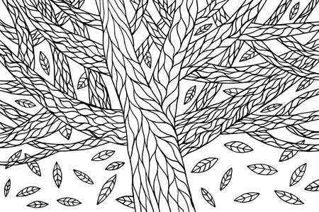 Autumn tree background. October leaves fall. Coloring page for adults. Organic natural illustration. Botanical print. Ilustração