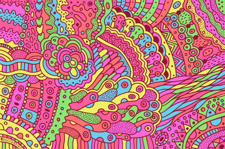 Colorful trippy psychedelic surreal doodle pattern. Background with floral abstract motifs. Vibrant boho texture.  pattern. Vector illustration. Ilustração
