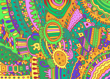 Colorful green trippy psychedelic ornament. Background with line art flower elements. Vivid shamanic texture. Zendoodle pattern. Vector illustration.