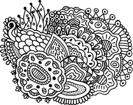 Surreal doodle mandala for coloring book for adults. Coloring page with floral abstract motifs. Psychedelic texture. Vector illustration. Ilustração