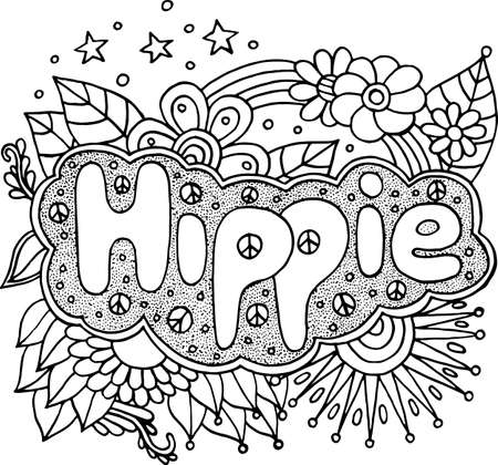Coloring page for adults with motivational quote - Hippie. Doodle lettering. Art therapy antistress illustration. Black and white line art. Vector artwork.
