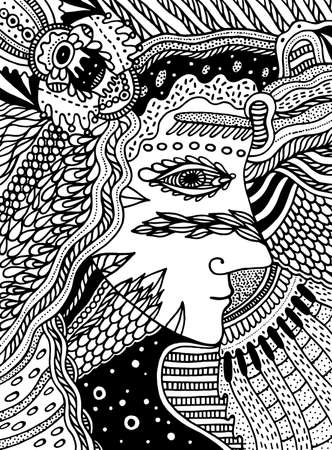 Beautiful witch woman. Coloring page for adults outline. Abstract woman face for print design. Vector art halloween print. October girl portrait. Cool esoteric art. Ilustração