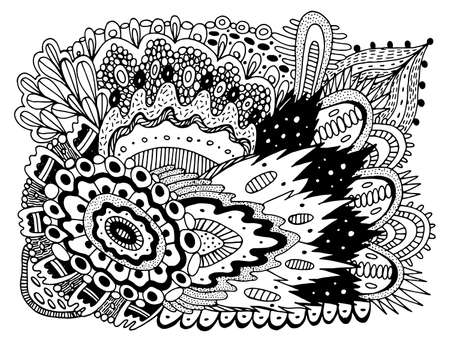 Trippy doodle pattern for coloring book for adults. Coloring page with floral motifs. Psychedelic texture.