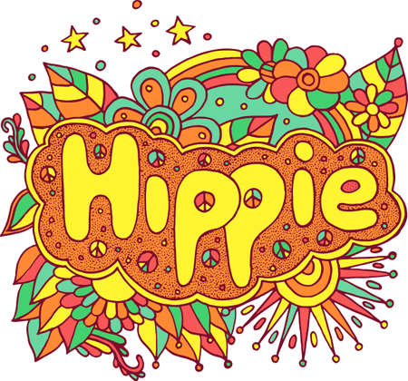 Colorful illustration with motivational quote - Hippie. Doodle lettering. Art therapy antistress illustration. Vibrant line art. Vector artwork. Ilustração