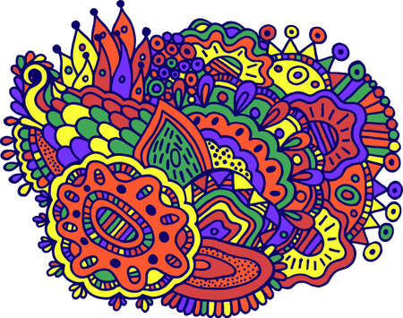 Surreal doodle mandala colorful design. Vibrant illustration with floral abstract motifs. Psychedelic texture.  pattern. Vector illustration.