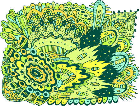Trippy colorful doodle pattern. Doodle artwork with floral motifs. Psychedelic texture. Zentangle pattern. Vector illustration.