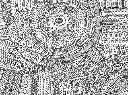 Floral ornament with flowers and leaves. Doodle shamanic coloring page for adults. Abstract trippy pattern. Psychedelic art. Vector artwork.