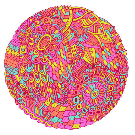 Floral mandala with flowers and leaves. Doodle shamanic colorful illustration. Abstract trippy pattern. Psychedelic art. Vector artwork.