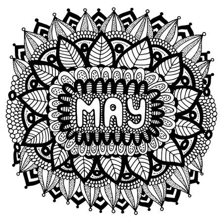 May - coloring page for adults. Mandala with months of the year. Calendar coloring book. Vektorové ilustrace