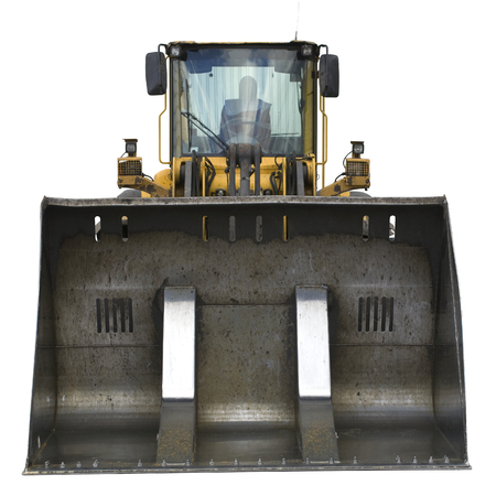 Front view of loader isolated on white background with clipping path.
