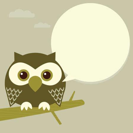 Owl on a tree brunch  Illustration