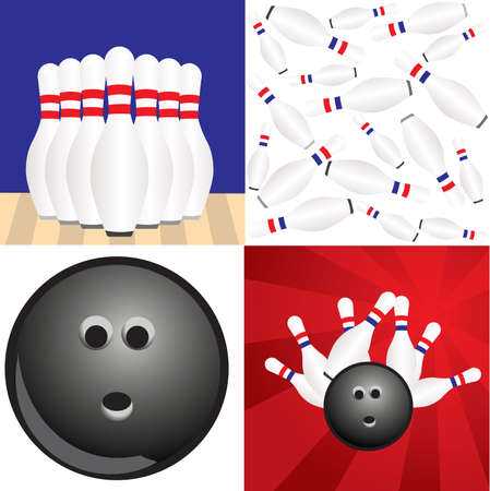 ten pin bowling: Bowling Ball Illustration