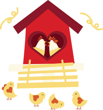 laying egg: Chicken family Illustration