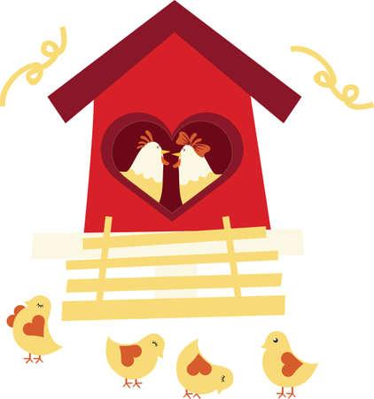 multiple house: Chicken family Illustration