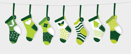 knitted background: Christmas Stocking - Green Illustration