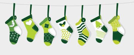 glistening: Christmas Stocking - Green Illustration