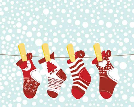 clothesline: Christmas Stocking - Green Illustration