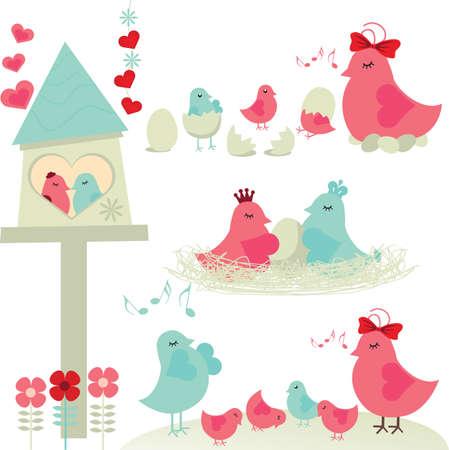 Familia de aves Vectores