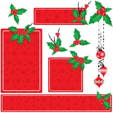Christmas holly set Vector