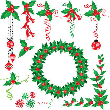 Christmas holly set Stock Vector - 5937621