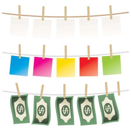 Wäscheklammer und Papier