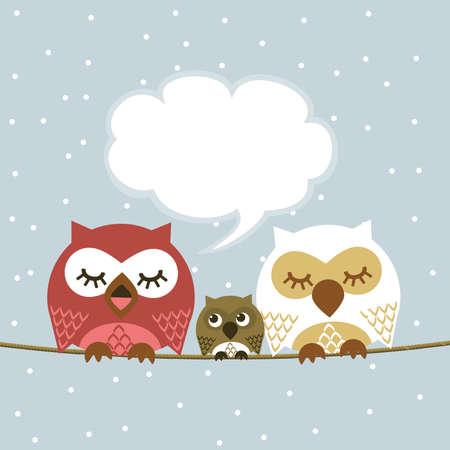animals together: Owl Illustration