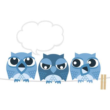 unhappy family: Owl Illustration