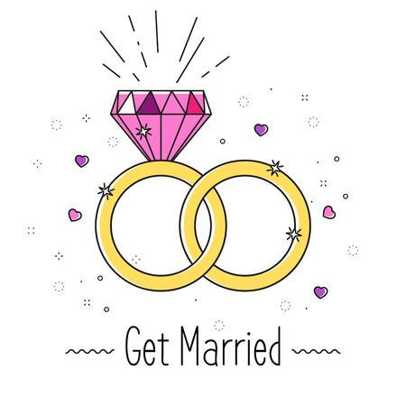 結婚式のシンプルな平面幾何学的形態とカード グラフィック デザイン ベクター。招待ポスター良い