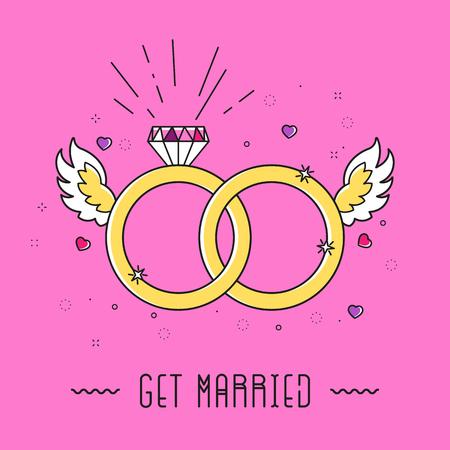 ダイヤモンド、リング、翼、心と 90 年代のグラフィック デザイン スタイルの結婚本文漫画結婚カード。簡単な概要図
