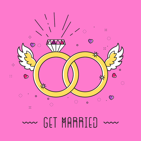 Cartoon marriage card with diamond, rings, wings, heart and text GET MARRIED in 90s graphic design style. Simple outline Illustration Çizim