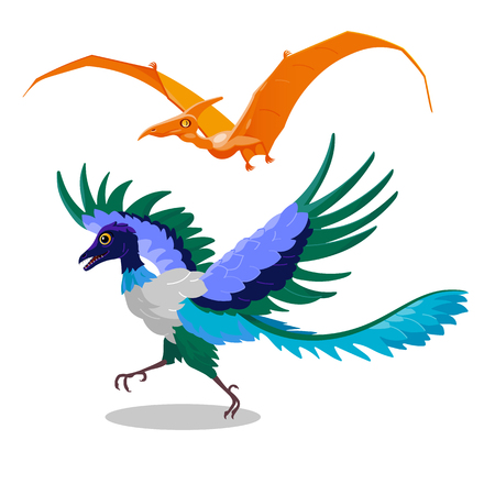 paleontology: Comical decorative orange color pterodactyl and blue archaeopteryx. Isolated vector dinosaurs