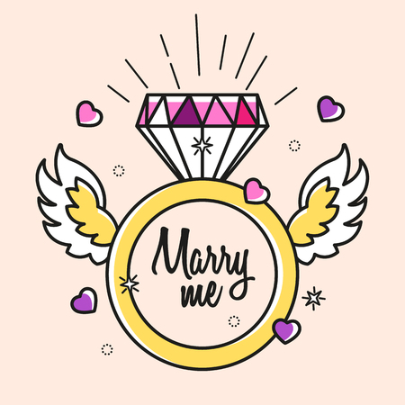 Golden color engagement ring with precious stone, hearts, wings and text MARRY ME. Cute love concept for young couple