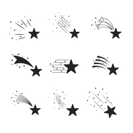 meteorites: Abstract falling stars, meteoroid, asteroid with geometric star trail isolated on white background Stock Photo