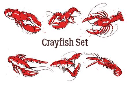 Hand drawn prawn or lobster. Text CRAYFISH SET. Sketch grunge vector set good for pub menu decoration Banque d'images