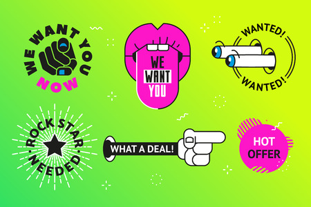 what a deal stickers, rock star needed text, wanted and we want you offers.  Good for web banner ad