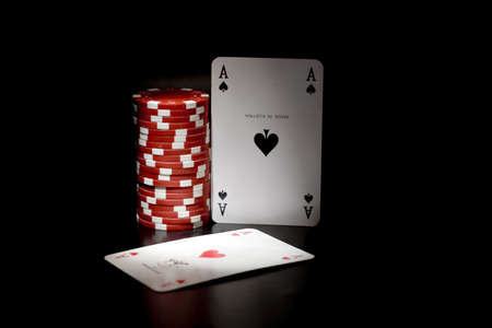 Casino chips and card photo