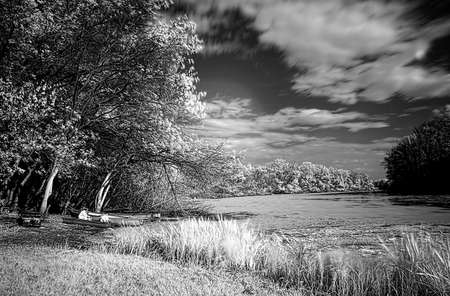 infrared: Beautiful lake view- infrared photography Stock Photo