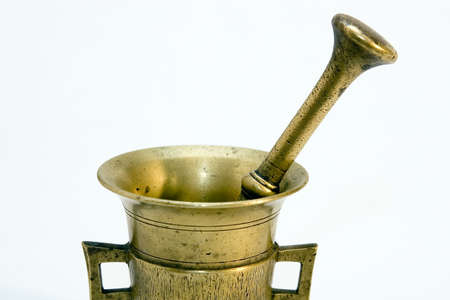 homoeopathic: Brass mortar and pestle