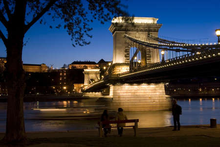 Budapest, the capital of Hungary. The old Chain Bridge and river Danube. photo