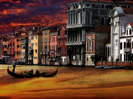 Gondolier in Venice and beautyful sunset photo