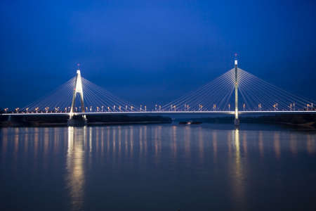 Hungary-Budapest- Bridge of Megyeri at night photo