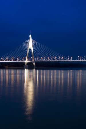 Hungary-Budapest- Bridge of Megyeri at night photo