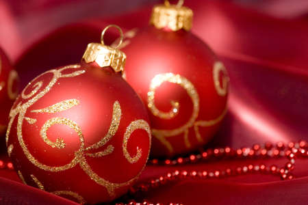 Christmas baubles with seasonal background photo