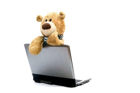 teddy bear and laptop photo